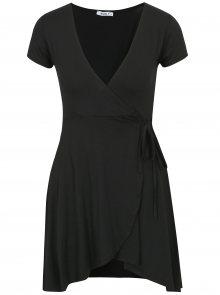 Černé šaty s překládaným výstřihem Haily´s Enja