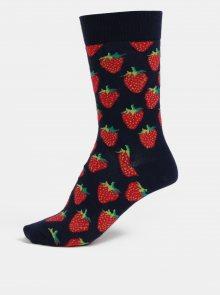 Tmavě modré dámské vzorované ponožky Happy Socks Strawberry