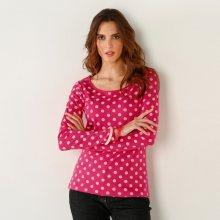 Blancheporte Puntíkované tričko s dlouhými rukávy třešňová/režná 34/36