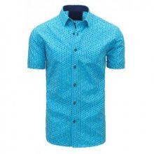 Tyrkysová pánská moderní košile vzorovaná