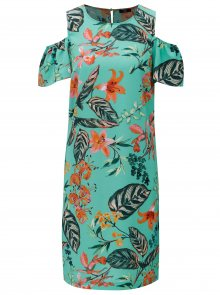 Zelené květované šaty s průstřihy na ramenou M&Co