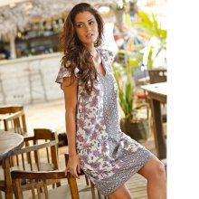 Blancheporte Voálové šaty s potiskem fialová/tmavošedá 44