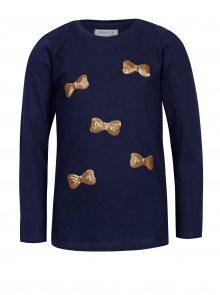 Tmavě modré holčičí tričko s flitry ve tvaru mašlí 5.10.15.