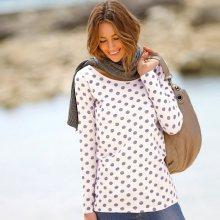 Blancheporte Puntíkované tričko s dlouhými rukávy režná/fialová 34/36