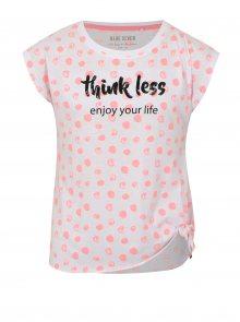 Bílé holčičí puntíkované tričko s uzlem Blue Seven
