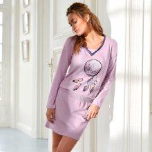 Blancheporte Noční košile s dlouhými rukávy a potiskem fialová 42/44