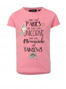 Růžové holčičí tričko s potiskem a nášivkou Blue Seven