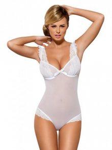 OBSESSIVE - Erotické body Julitta teddy L/XL bílá