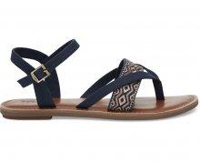 TOMS Dámské tmavě modré páskové sandále Navy Canvas Embroidery Lexie Sandals 37