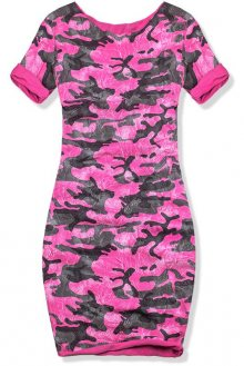 Růžové šaty s army potiskem