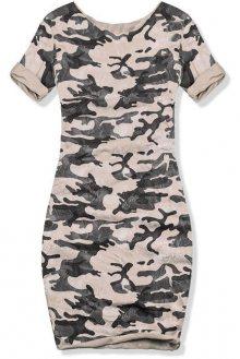 Béžové šaty s army potiskem