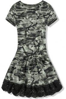 Khaki army šaty s krajkou