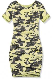 Žluté šaty s army potiskem