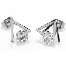 Troli Trojúhelníkové ocelové náušnice s krystaly KE-010