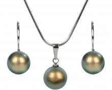 Troli Sada náhrdelníku a náušnic Pearl Iridescent Green