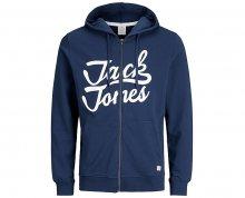Jack&Jones Pánská mikina Jornewcarry Sweat Zip Hood Estate Blue S