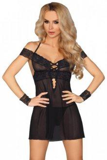 LivCo CORSETTI FASHION Erotická košilka Afica L/XL černá
