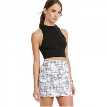 Forever 21 Dámská sukně Abstract Crosshatch Mini Skirt L