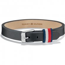Tommy Hilfiger Černý kožený náramek TH2700956