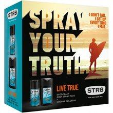STR8 Live True - deodorant s rozprašovačem 85 ml + sprchový gel 250 ml - SLEVA - pomačkaná krabička