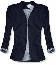Tmavě modré sako s pruhovanou podšívkou
