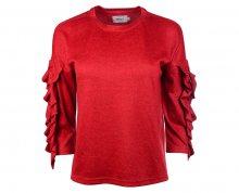 ONLY Dámský svetr Ida Spring 3/4 Ruffle Pullover Knt Flame Scarlet XS