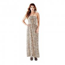 Guess Dámské šaty Leopard - Print Pleated Maxi Dress S