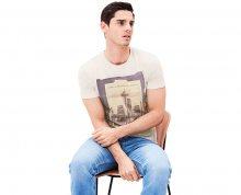 s.Oliver Pánské bílé tričko s krátkým rukávem a potiskem M