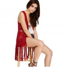 Forever 21 Dámská vesta Tasseled Crochet Longline Vest M