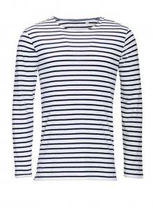 Dámské pruhované tričko s dlouhými rukávy - Bílá a temně modrá XS