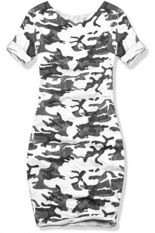 Bílé šaty s army potiskem