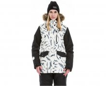Meatfly Dámská zimní bunda Chelsea 2 Jacket D - Feather Print/Black S