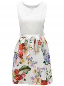 Krémové květované šaty se zavazováním v pase Haily\'s Vicky