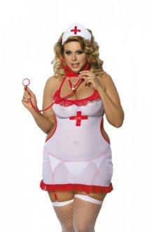 Angels Never Sin Shane Sestřička Erotický kostým Size Plus 3XL/4XL bílo-červená