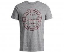 Jack&Jones Pánské tričko Jorslack Tee Ss Crew Neck Light Grey Melange S