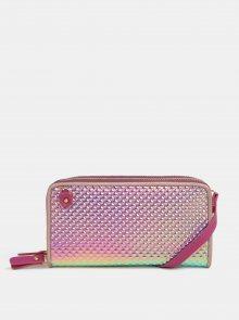 Tyrkysovo-růžová metalická velká peněženka s plastickým vzorem Anna Smith