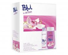 B.U. In Action Pure + Dry deospray 150 ml + sprchový krém Orchidej 250 ml dárková sada