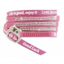 We Positive Růžový wrap náramek s nápisy a krystaly Swarovski Elements Amaranto SW014