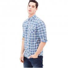 s.Oliver Pánská modro-bílá kostkovaná košile Regular Fit M