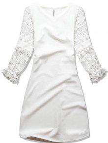 Bílé s krajkovými rukávy