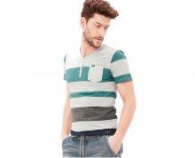 s.Oliver Pánské šedé tričko s proužky s krátkým rukávem L