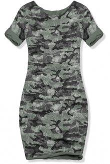 Khaki šaty s army potiskem