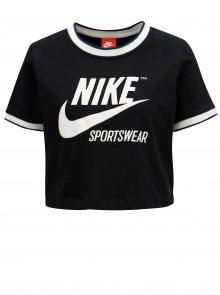 Černý crop top s potiskem Nike