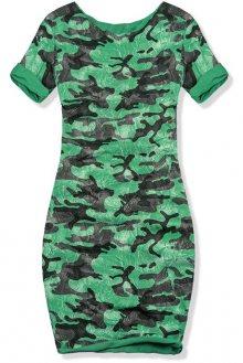 Zelené šaty s army potiskem