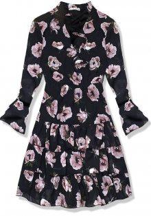 Černé květinové šaty s volány