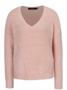 Světle růžový volný svetr s véčkovým výstřihem VERO MODA Moraga