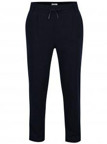 Tmavě modré volné kalhoty s příměsí lnu ONLY Summer