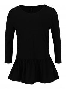 Černé tričko s 3/4 rukávem a volánem ONLY Live
