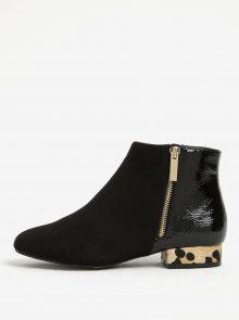 Černé kotníkové boty se vzorovaným podpatkem Dorothy Perkins