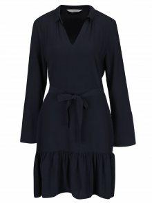 Tmavě modré šaty s véčkovým výstřihem a dlouhým rukávem YAYA